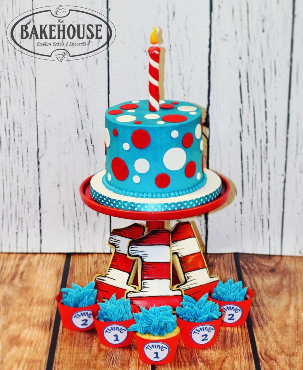 Pleasing Dr Seuss Smash Cake First Birthday Cookies Thing 1 2 Funny Birthday Cards Online Necthendildamsfinfo